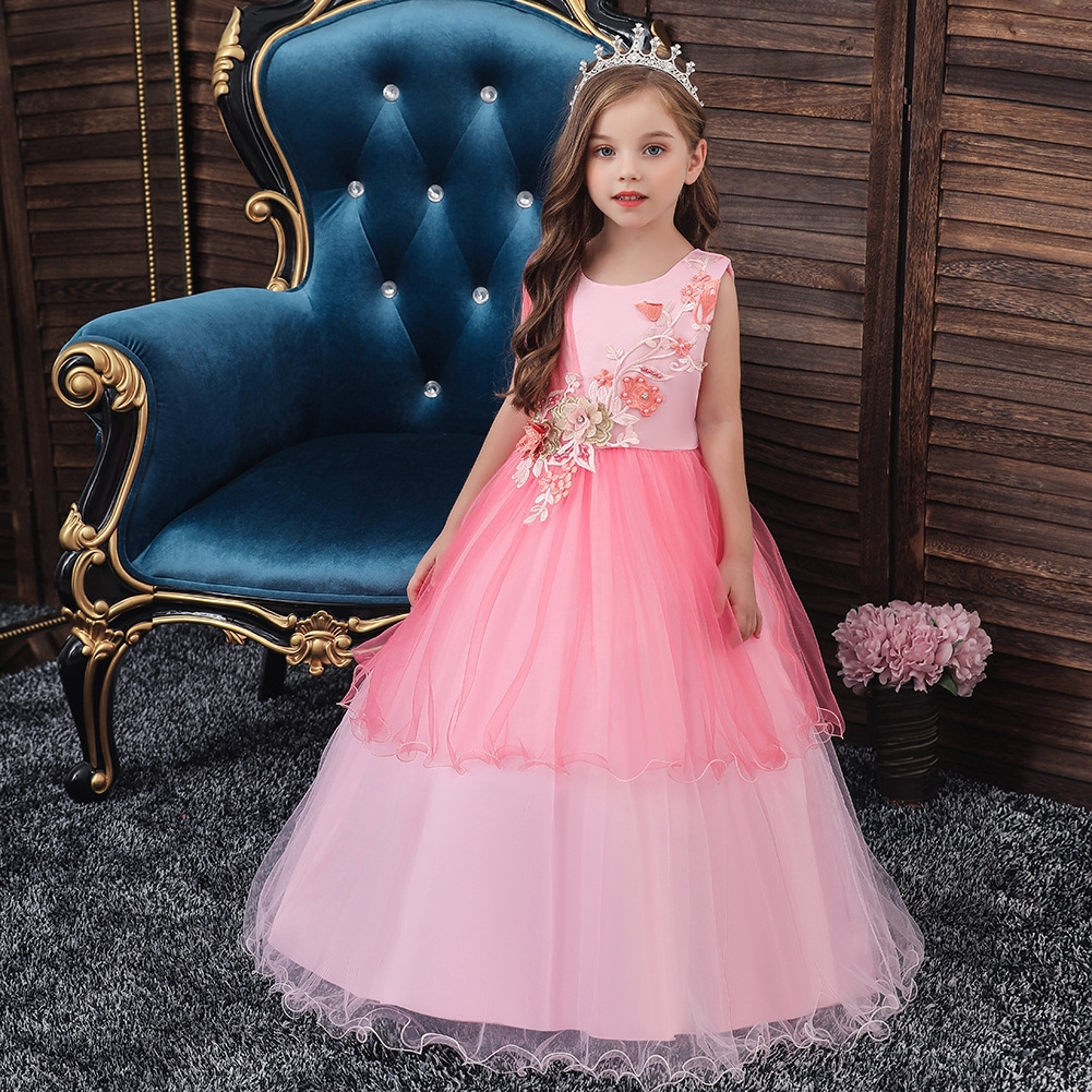 Petal Flower Girl Dress Formal Party Ball Gown for Kids Prom Wedding Bridesmaid