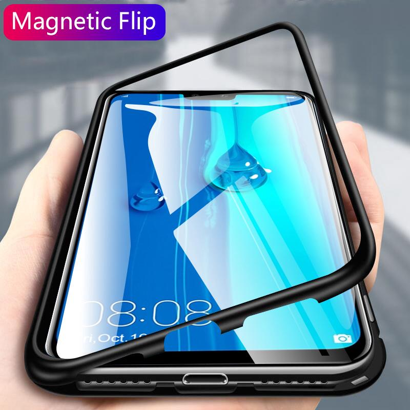 Huawei Y9 2019 Magnetic Adsorption Metal Bumper Case clear Tempered Glass  Cover