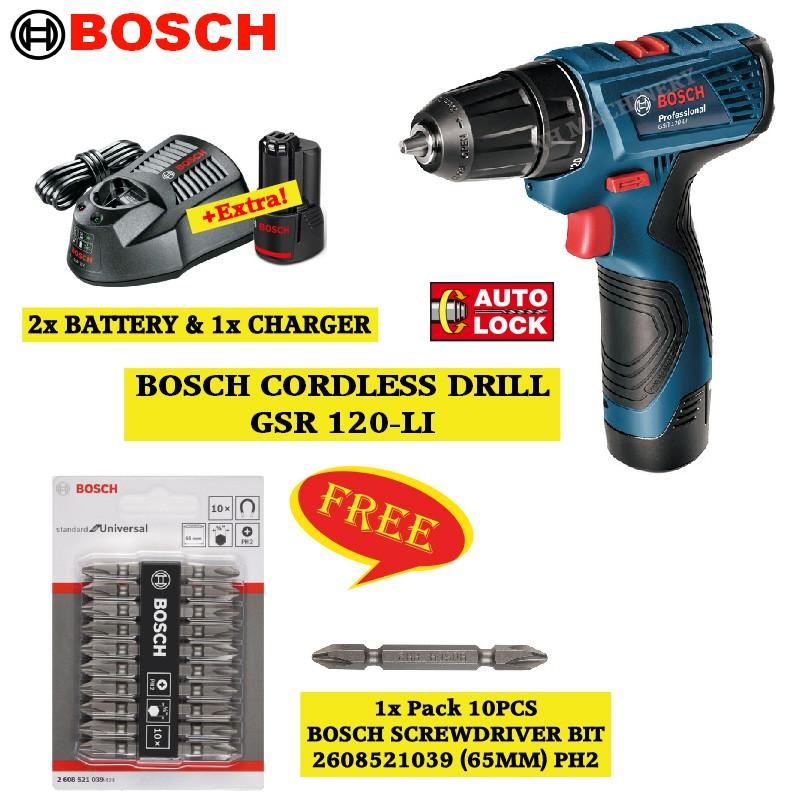 a34e86565dcb0 Bosch GSR120LI Cordless Drill (Driver) FREE Screwdriver Bit (2608521039)