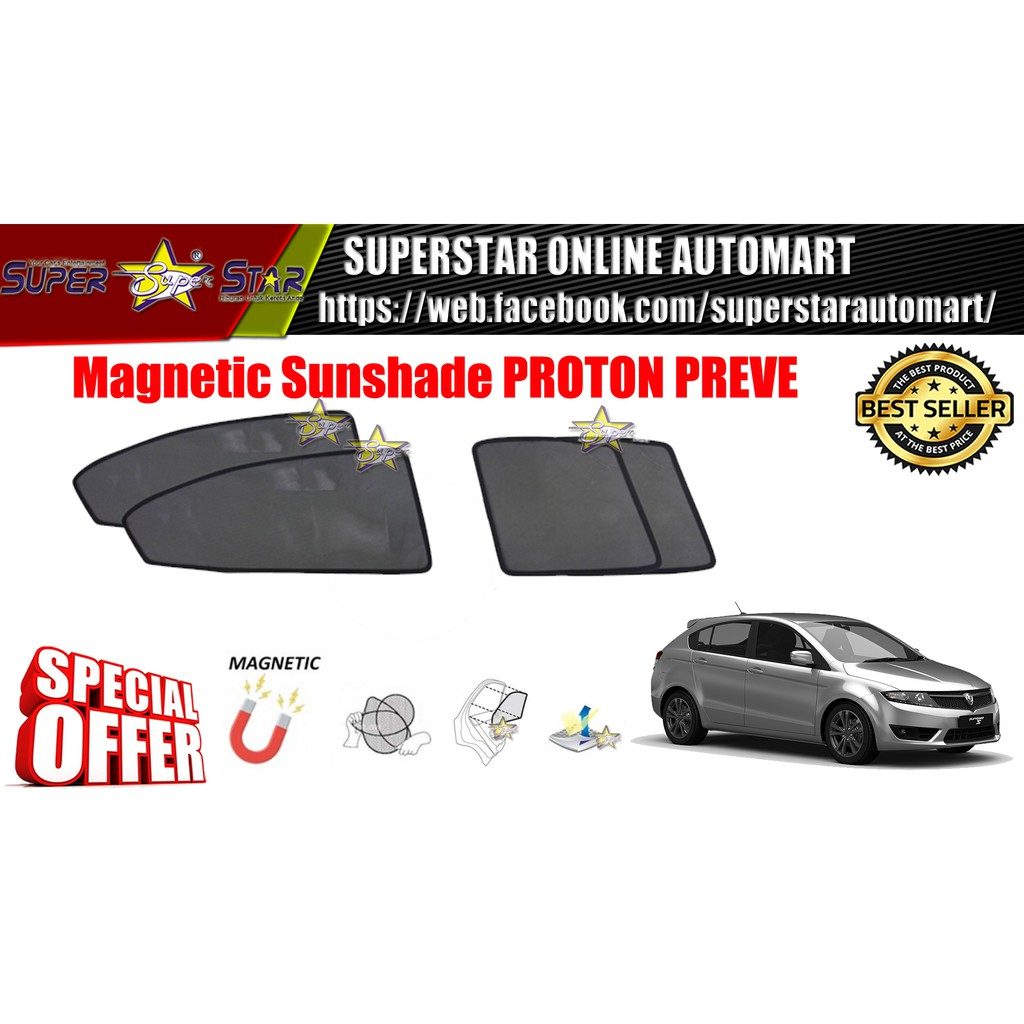 CARFIT OEM Magnetic Custom Fit Sunshade For PROTON PREVE / SUPRIMA S (4pcs Sets)