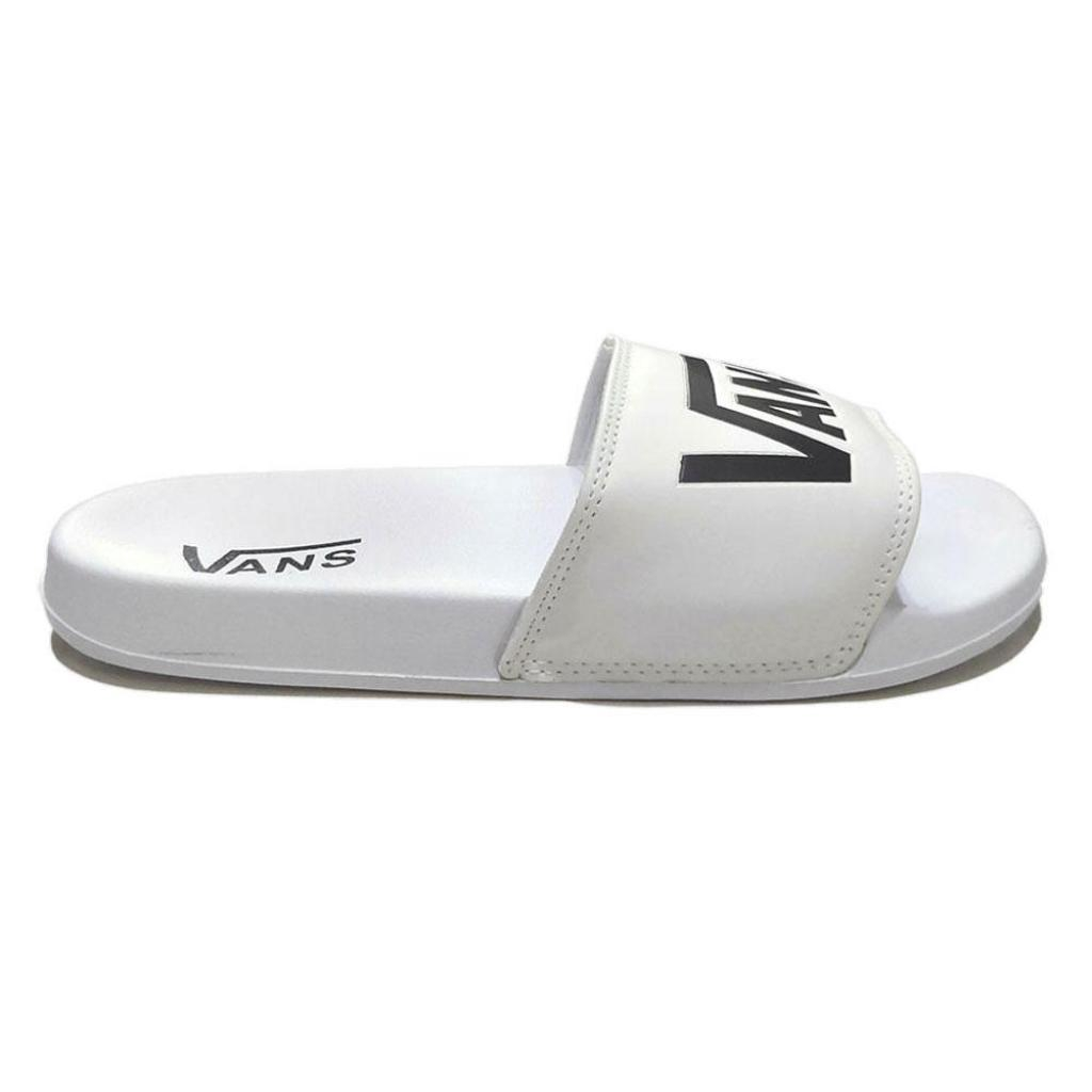 black and white vans slides