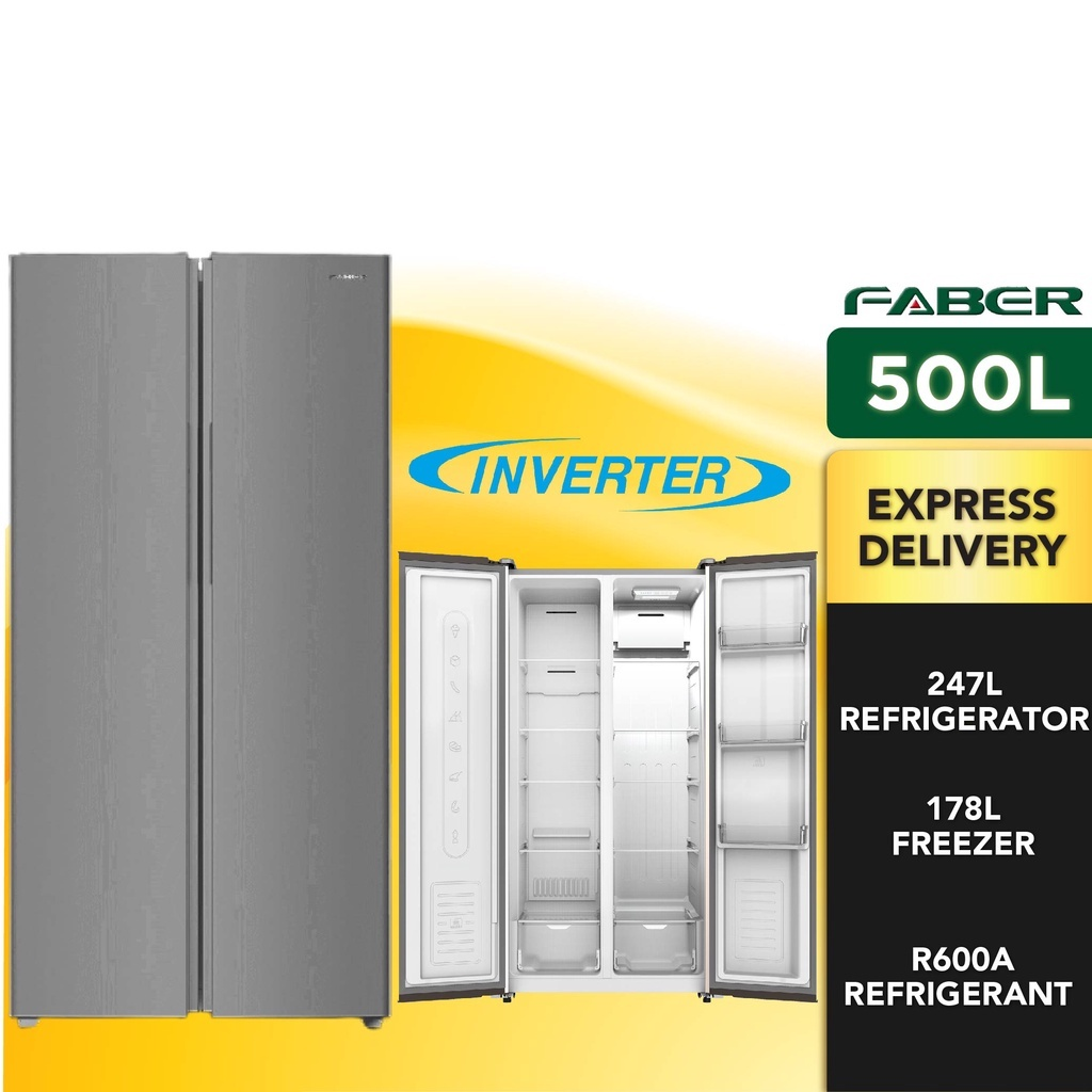 Faber 500L Side By Side Inverter Refrigerator  LUSSO SBS-500DG   247L Fridge Capacity   178L Freezer Capacity Peti Sejuk
