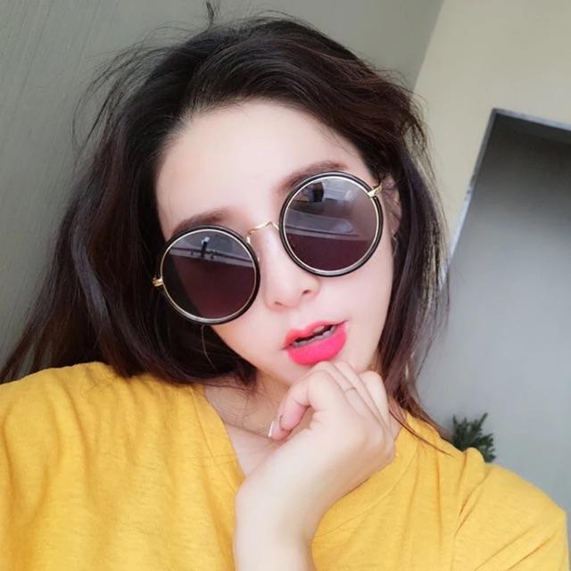 Korean Vintage Sunglasses 新款圆形框墨镜金属圈韩版复古时尚太阳眼镜明星网红男女眼镜