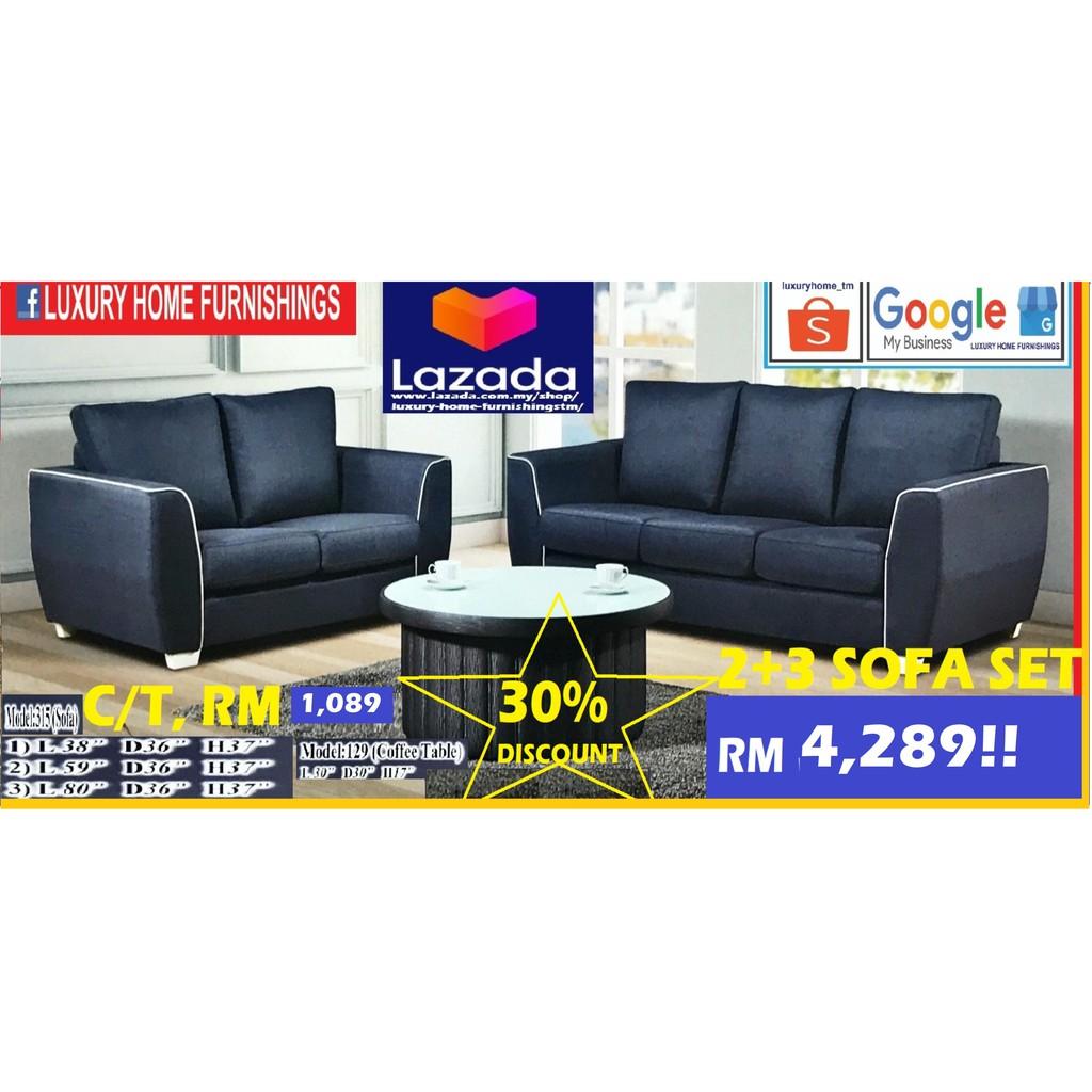 Sofa Set, Water Repellent FABRIC, 2+3 Set!! RM 4289!! ENJOY 30% DISCOUNT!!