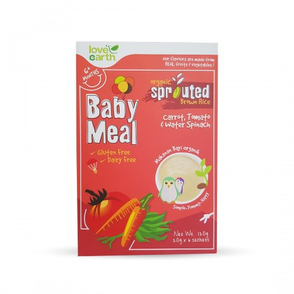Love Earth Organic Sprouted Brown Rice Baby Meal - Carrot, Tomato, Water Spinach 乐儿有机宝宝米糊 - 胡萝卜 & 番茄 & 蕹菜味 120g
