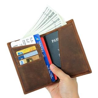 860b42c834d9 Genuine Leather Passport Holder Document Organizer Cover Crazy Horse ...