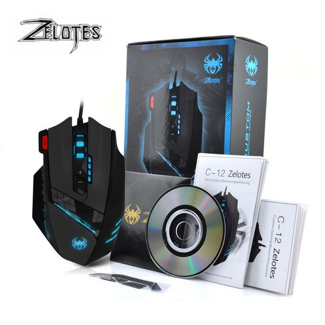Zelotes C12 Wired usb gaming mouse 4000DPI 12 Buttons computer pc gamer