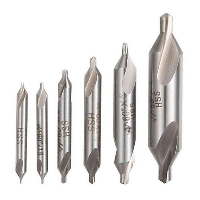 #6 60 DEGREE 2 FLUTE CARBIDE CENTER DRILL COMBINED DRILL AND COUNTERSINK