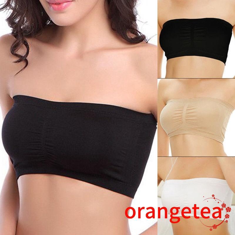 New Women Ladies Strapless Boob Bandeau Tube Tops Seamless Vest Crop Top Bras US