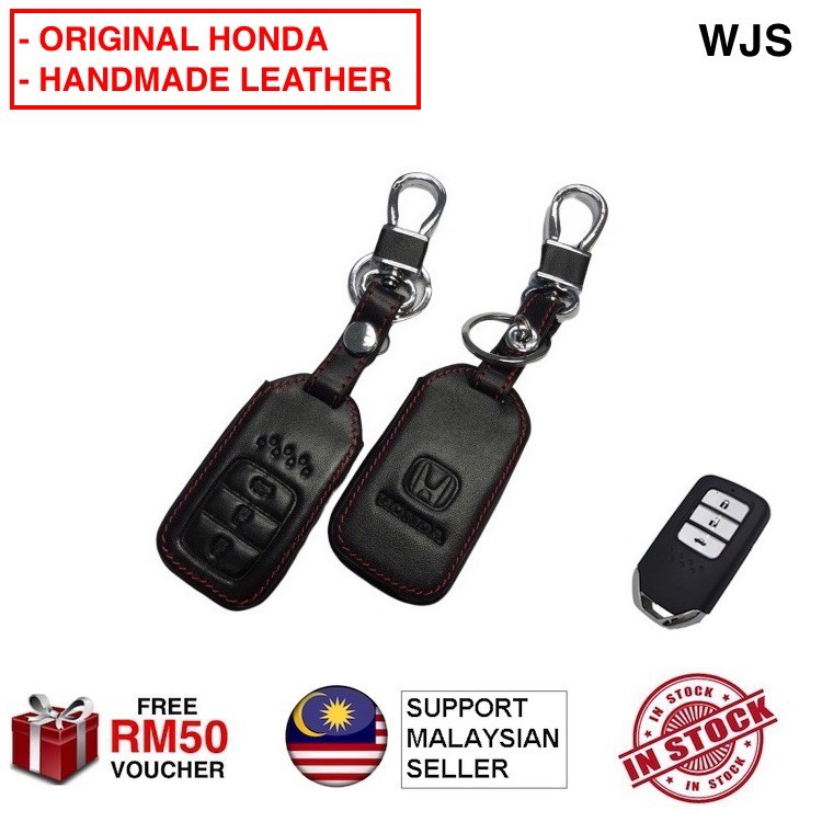 🇲🇾FREE RM50 VOUCHER🎁 WJS Stainless Steel Honda CITY CRV ACCORD 2014-2019  Smart Leather Key Cover Case Remote Case