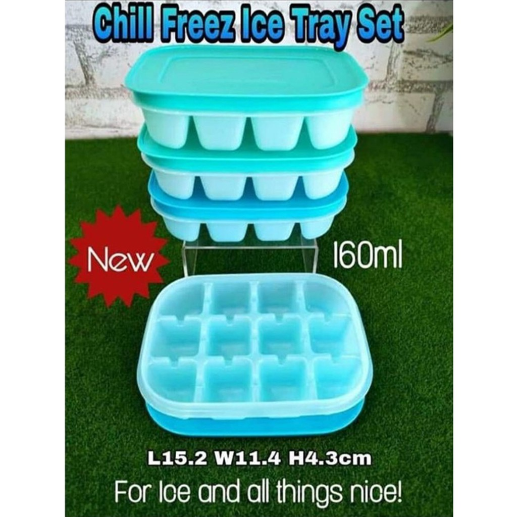 Tupperware Chill Freez Ice Cube Tray Set (Blur or Green Color Set) - 160ml