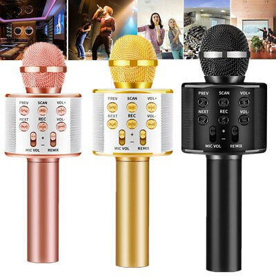 WSTER WS858 PORTABLE WIRELESS BLUETOOTH SPEAKER MICROPHONE MIC HANDHELD KARAOKE KTV SINGING FUNCTION ENGLISH VERSION