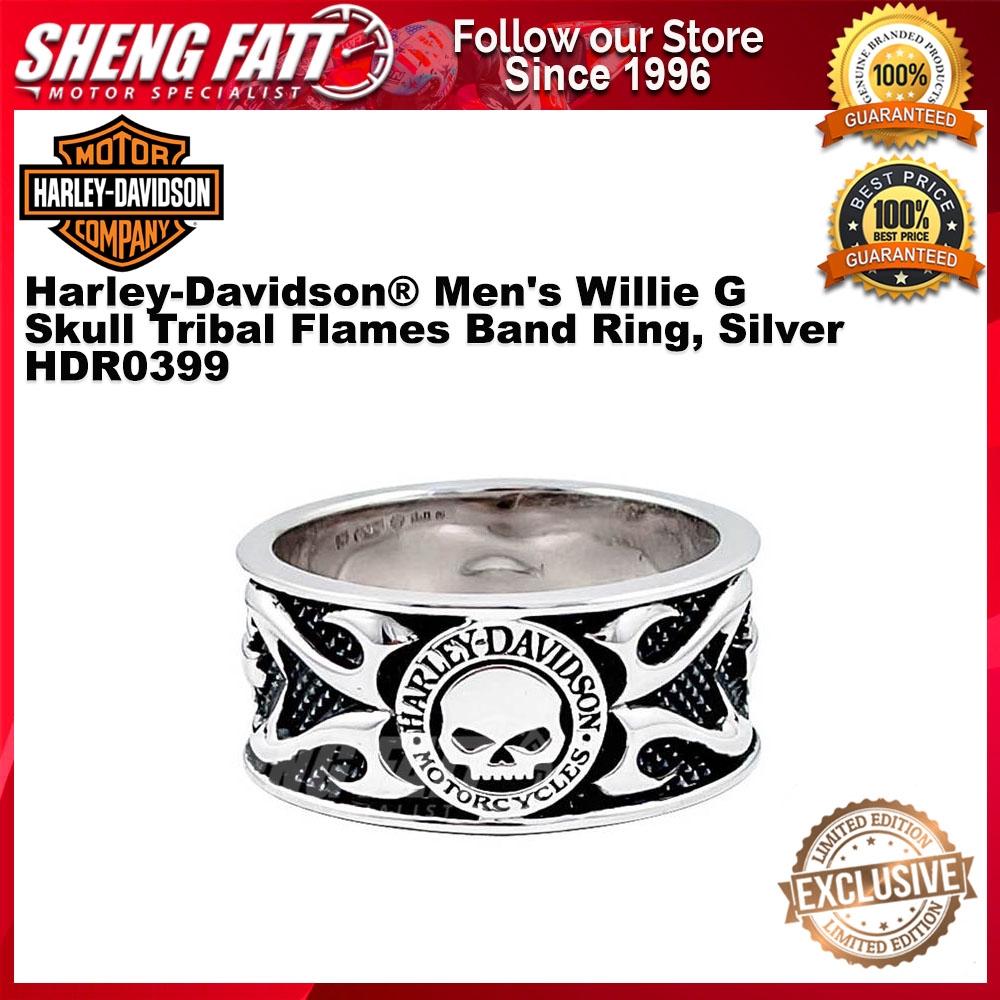 Harley-Davidson® Men's Willie G Skull Tribal Flames Band Ring, Silver HDR0399 size 9
