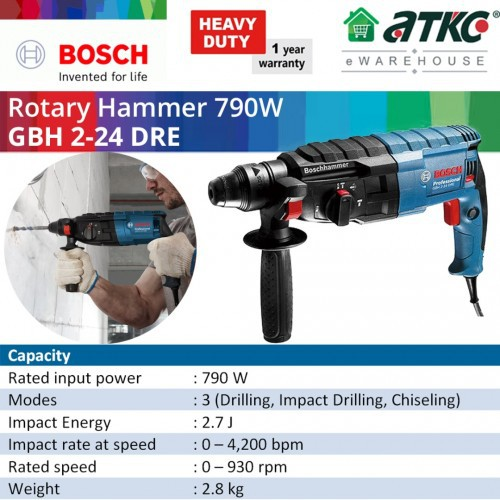 BOSCH GBH 2-24 DRE Rotary Hammer Professional with SDS-Plus 790W (06112721L0)