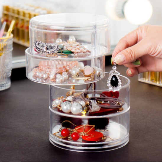 Happy Deals ReadyStock 4 layers Brooch Hair clip jewelry Organizer Drawer Holder Box Earring Stud storage box