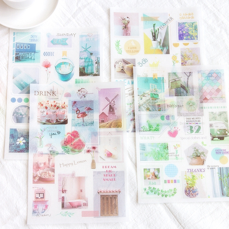 Fabric Look Stickers Flowers Vintage Paper Diary Planner Bujo