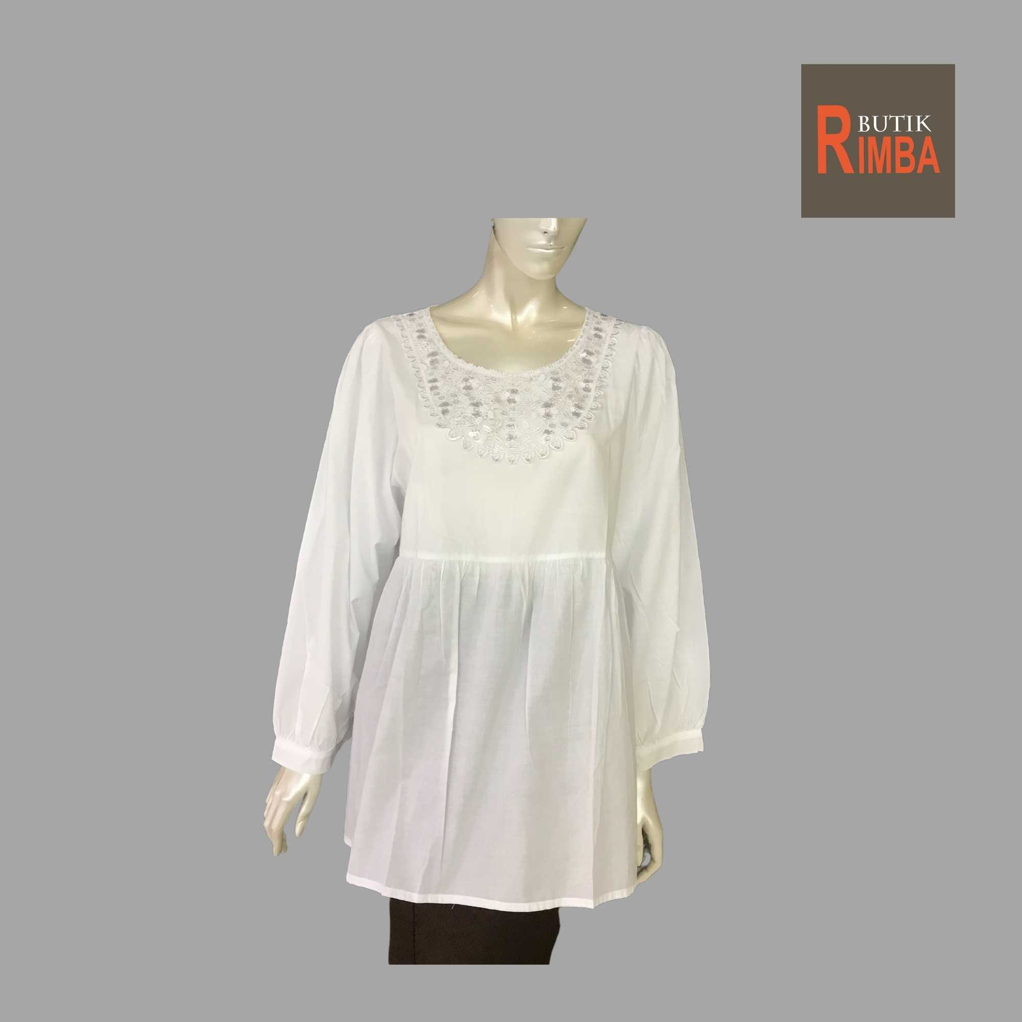 WOMEN CASUAL AND COMFORTABLE WHITE BLOUSE COTTON FREE SIZE PATTERN 04