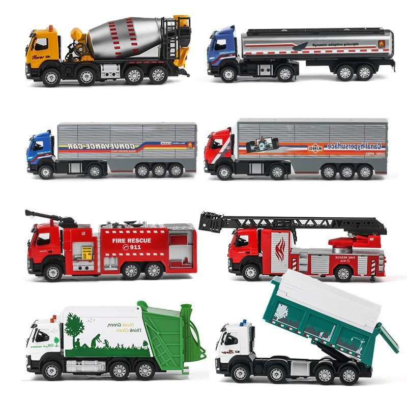 Simulation Volvo Fire Truck Ladder Water Tank Truck Child Toy Car Trolley  Boy Ca
