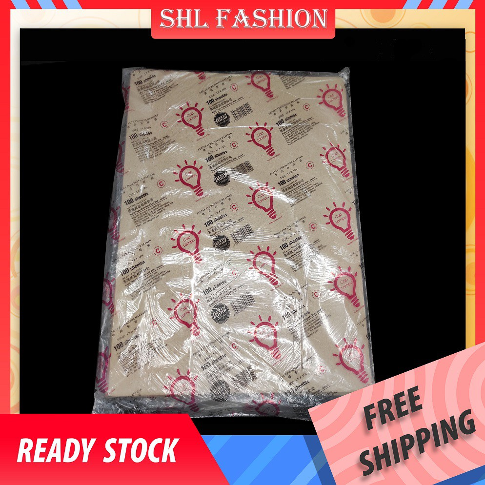 SHL 70/100pcs Brown Hawker Paper / Food Packaging Kraft Paper / Food Wrapping Packaging