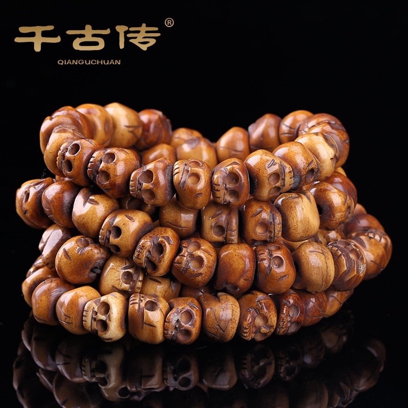 Natural Cattle Bone Hand Carved Skull 108 Pieces Of Necklace Buddha Beads Accessories Shopee Malaysia