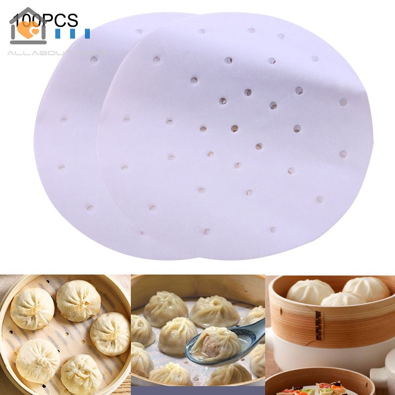 100X 9 Inch Air Fryer Bamboo Steamer Liners Perforated Air Fryer Parchment Paper