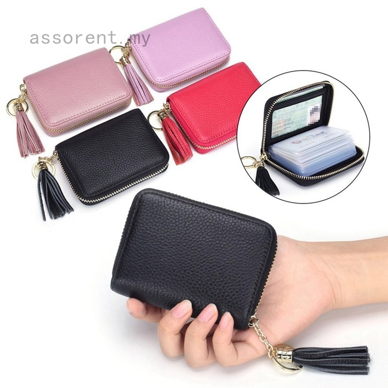 1c9e1fcbb5f4 Explosive Tassel Genuine Leather Card Holder Purse Organ Lady Small Card  Package