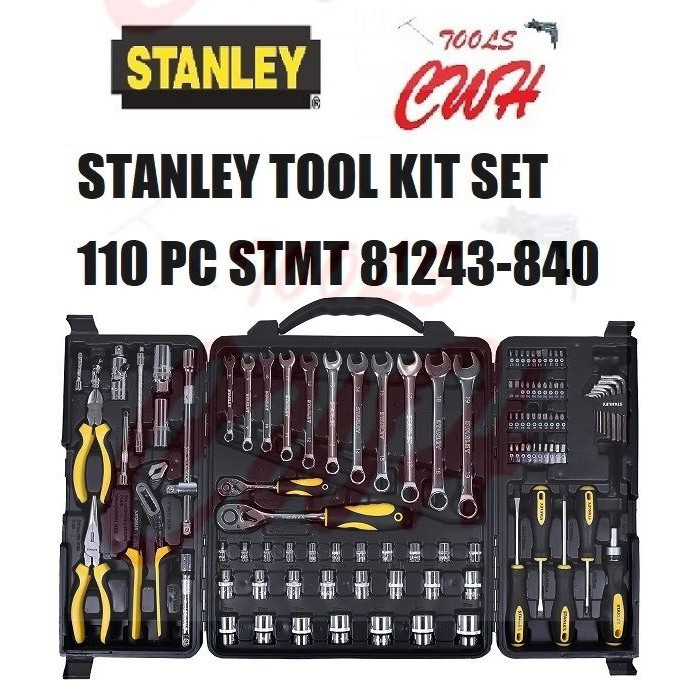 STANLEY TOOL KIT SET 110 PC STMT 81243-840 COMBINATION WRENCH SCREWDRIVER LONG NOSE PLIER HEX KEY TORX SOCKET EXTENTION