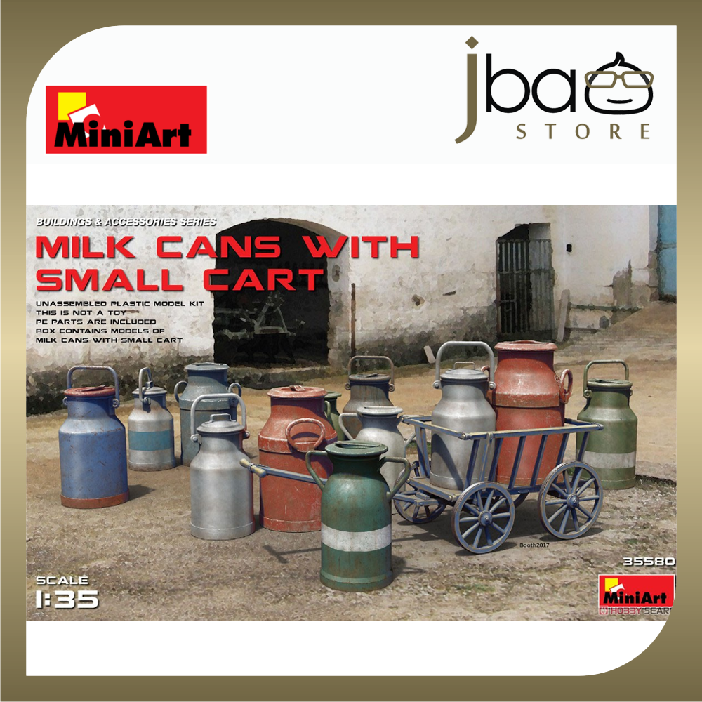 MiniArt 1/35 35580 Milk Cans with Small Cart HIGHLY DETAILED 12 Milk Cans Miniature
