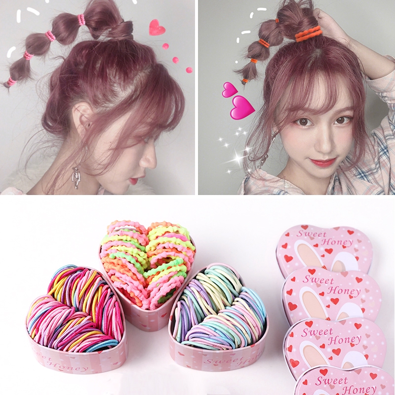 50pcs New Girls elastic hair ties Scrunchie Ponytail Holder Hair Accessories