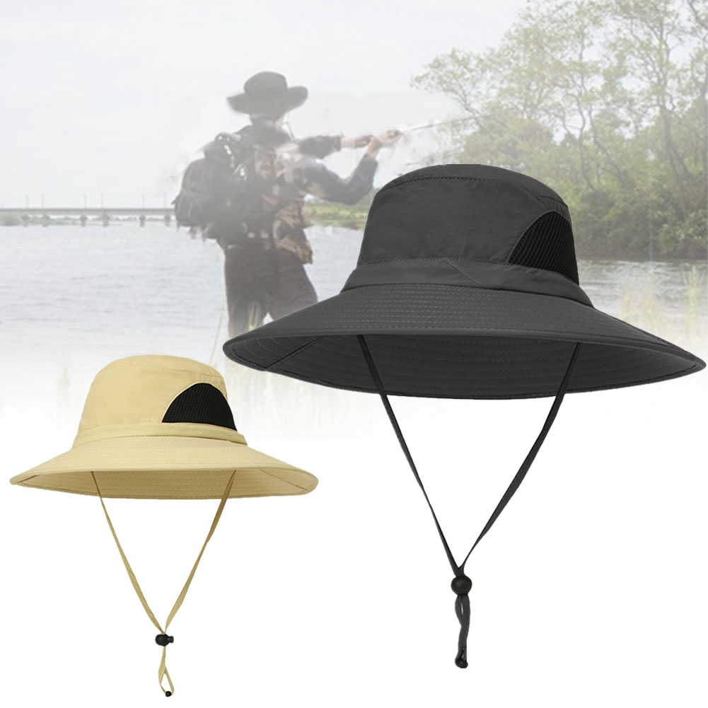 5f4e6affe Wide Brim Breathable Bucket Hat UV Protection With Adjustable Strap Outdoor  Fishing Foldable Waterproof Mesh Crown Men | Shopee Malaysia