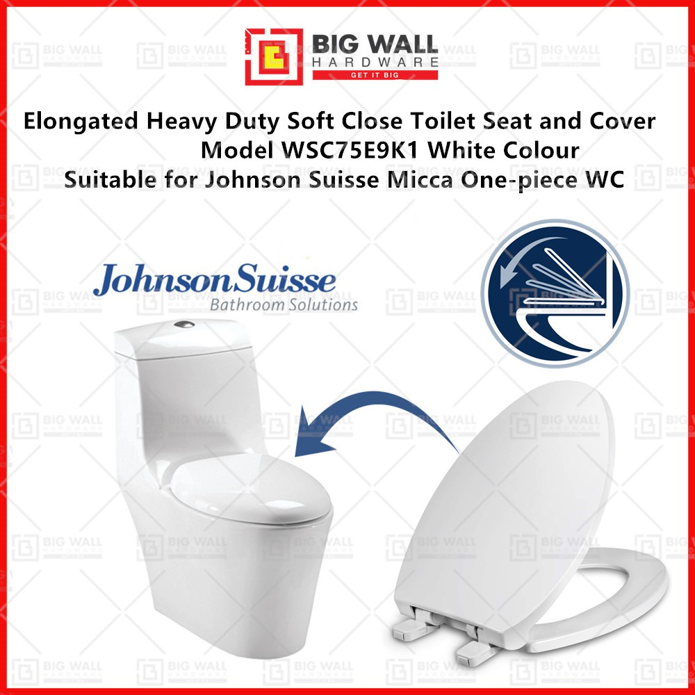 Elongated Heavy Duty Soft Close Toilet Seat and Cover WSC75E9K1 Suitable for Johnson Suisse Micca One-piece WC Big Wall