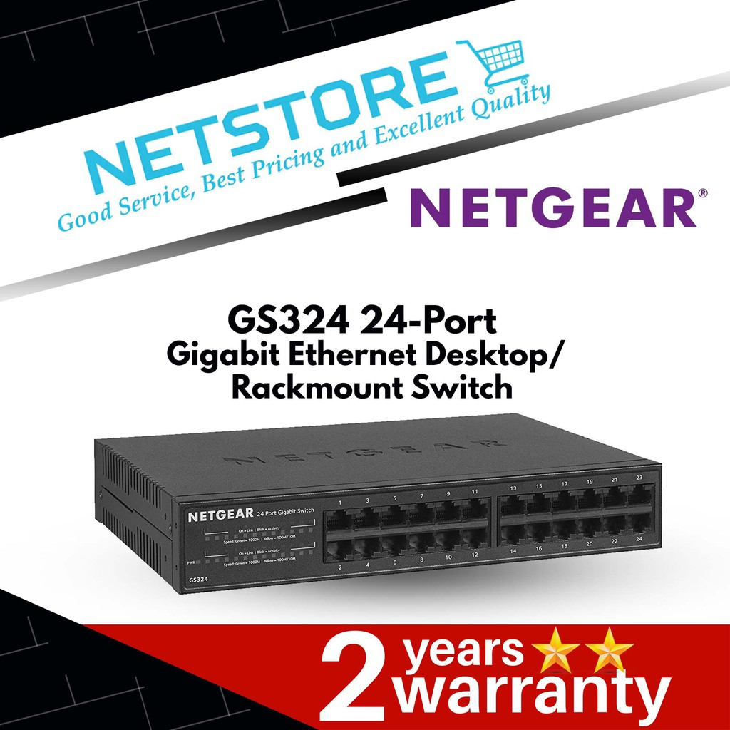 GS324-100NAS NETGEAR 24-Port Gigabit Ethernet Desktop//Rackmount Switch
