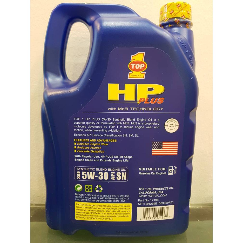 TOP 1 HP Plus [Semi Synthetic Blend] Gasoline Engine Oil 5W