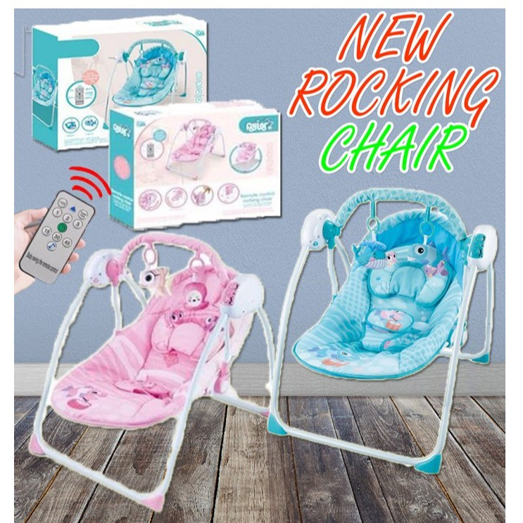 [READY STOK] New Auto Baby Rocking Chair Swing Rocker With Remote Control & Mosquito Net