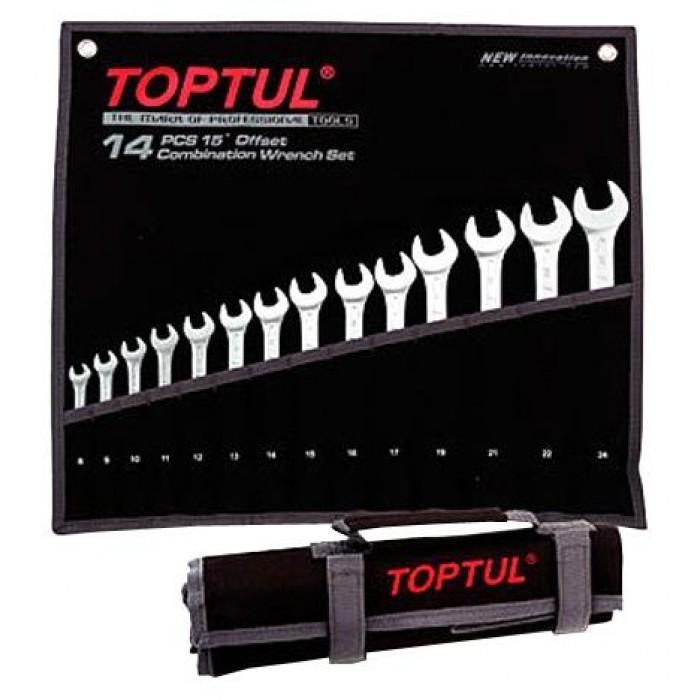 Toptul Standard Combination Wrench Spanner Set 15° Offset GPAB1404
