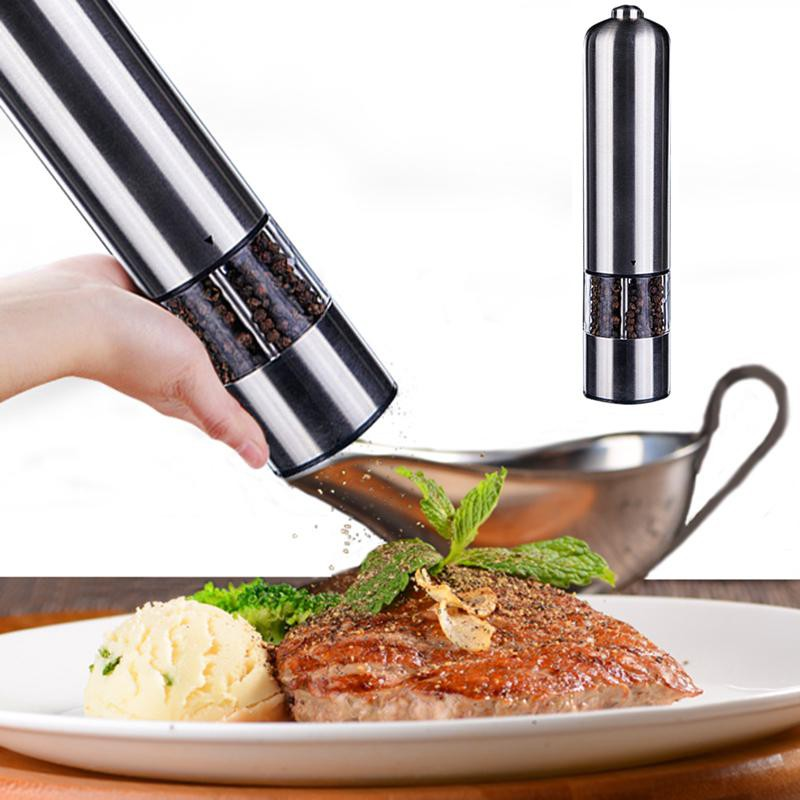 Electric Spice Salt Pepper Mill Grinder Stainless Steel Muller Home Tools