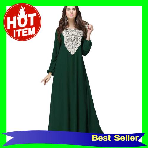 Muslim Women Plus Size Chiffon Maxi Dress Appliqué Round Neck Long Sleeves Abaya Islamic Casual Robe Kaftan Turkish Lo