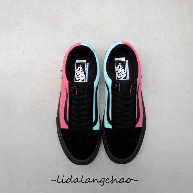 c92ea2495b Vans Old Skool Pro Asymmetry Black Rose Blue Men Sneakers