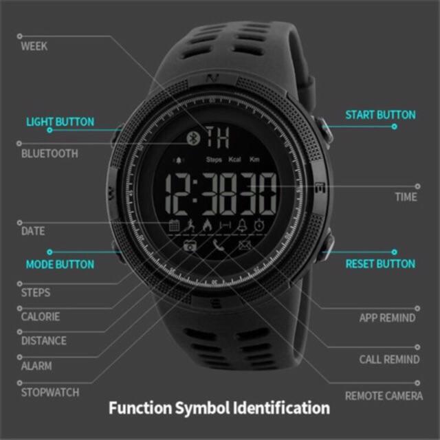 Skmei 1250 Original Brand Bluetooth Sports Pedometer Multifunctional Smart  Watch