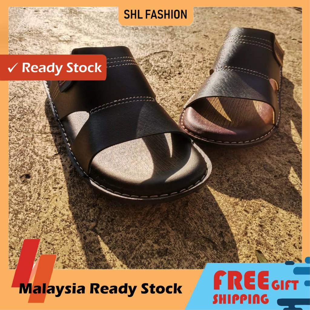 SHL Men PU Leather Sandal Premium Selipar Kasut Lelaki size 39-44【男士拖鞋】-653