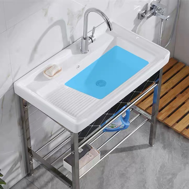Commode Ceramic Laundry Basin Stainless Steel Bracket Table Wash With Panel Balcony Ultra Deep Tank Pool Shopee Malaysia