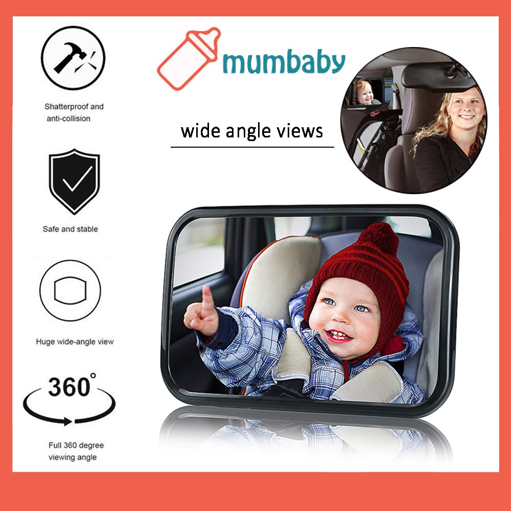 Plush Bear Baby Kid View Mirror For Rear Facing Car Seat Safety Auto Infant