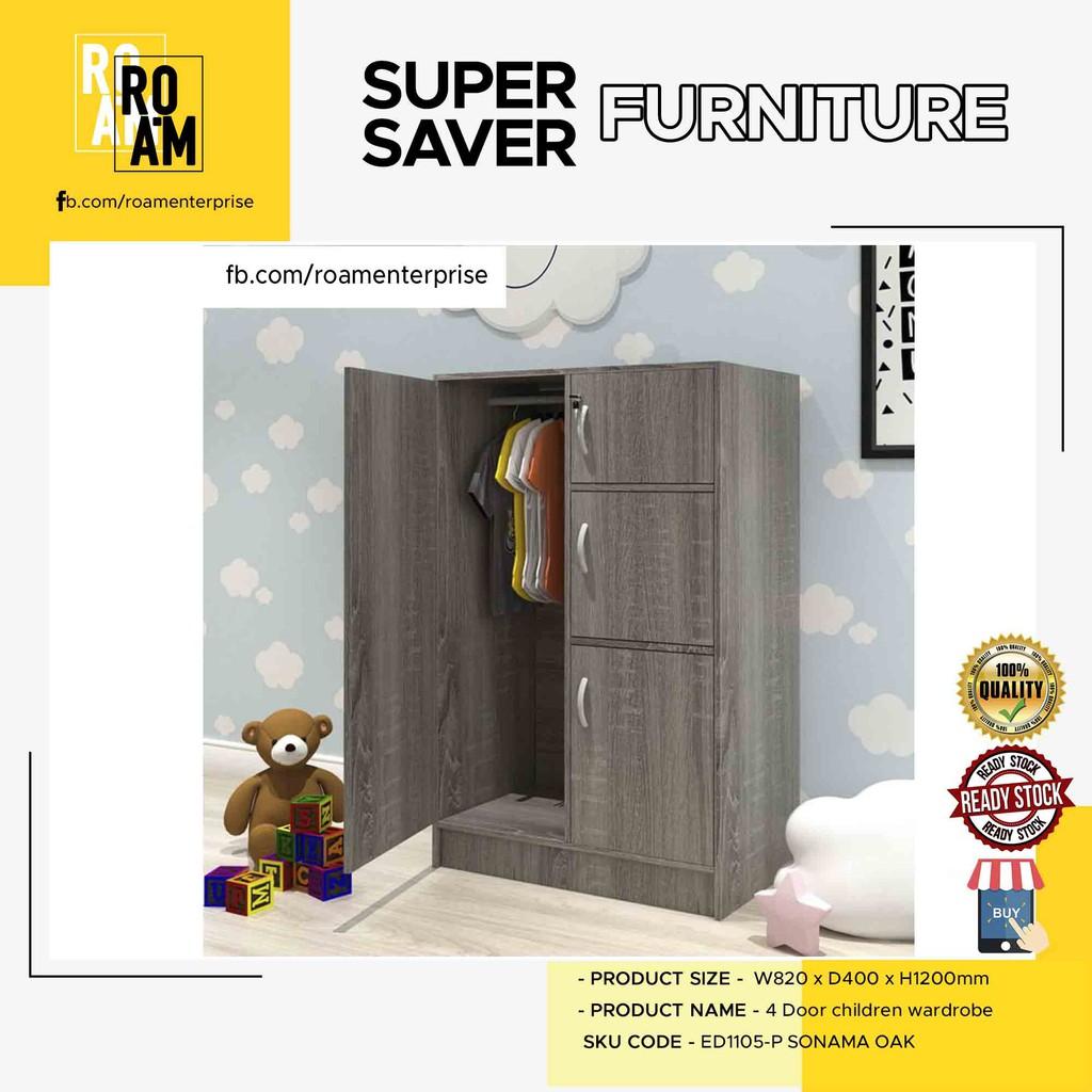 BARRY 5 door 4 door children wardrobe  3 color white oak wenge color kanak kanak perabot cabinet baju ready stock