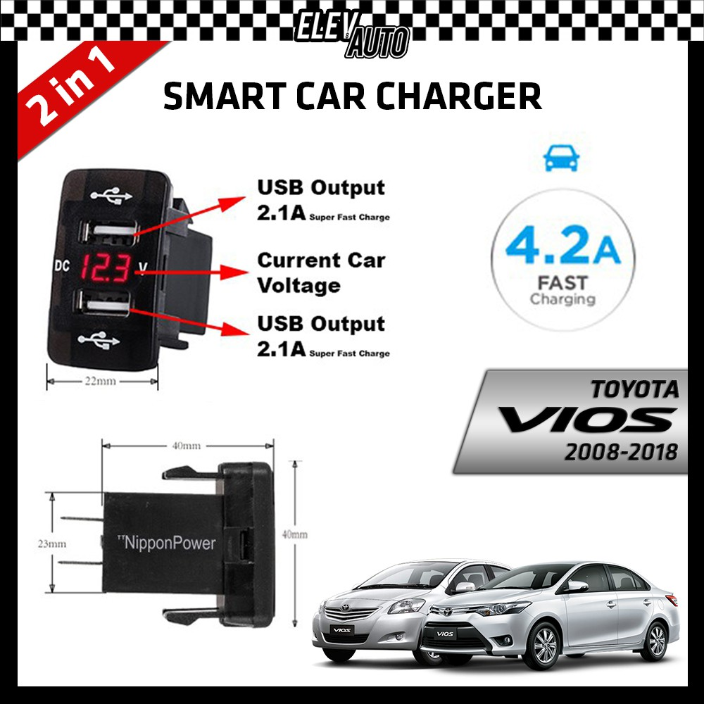 DUAL USB Built-In Smart Car Charger with Voltage Display Toyota Vios 2008-2018