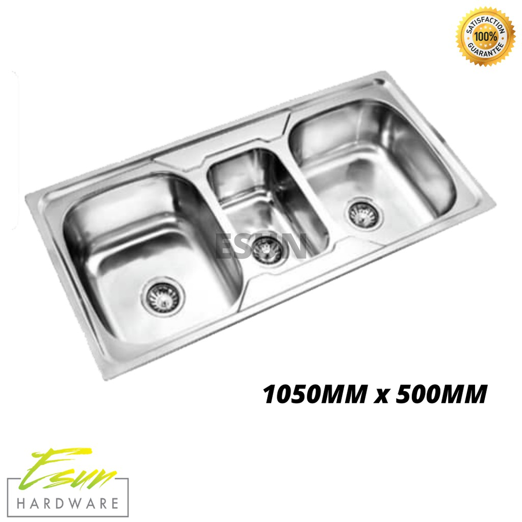 Stainless Steel Kitchen Sink Triple Bowl 1050mm X 500mm Shopee Malaysia