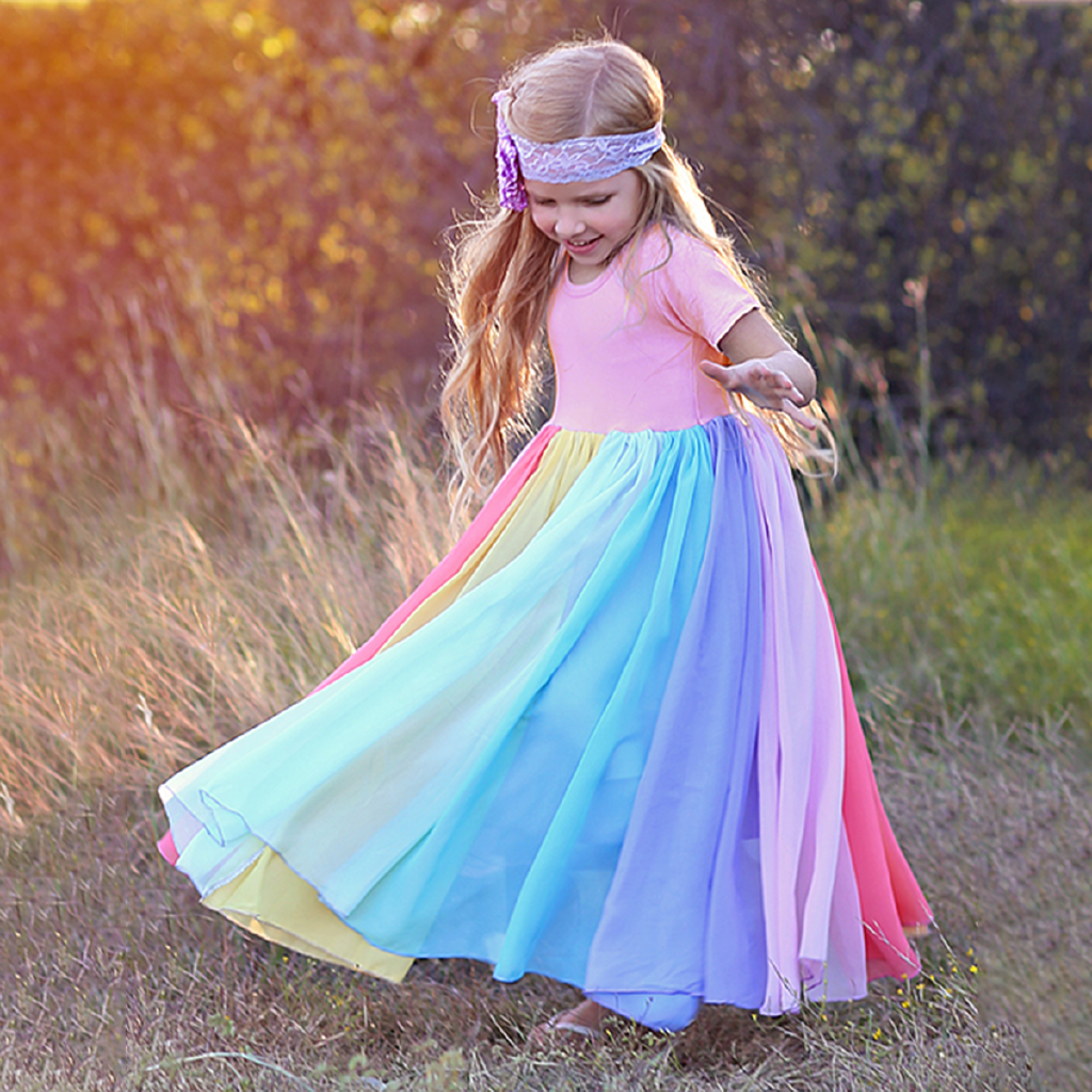 New Baby Girl Cotton Fashion Rainbow Short Sleeve Color Block Colorful Party Dresses For Kids Princess Kids Dress 1 7years Shopee Malaysia