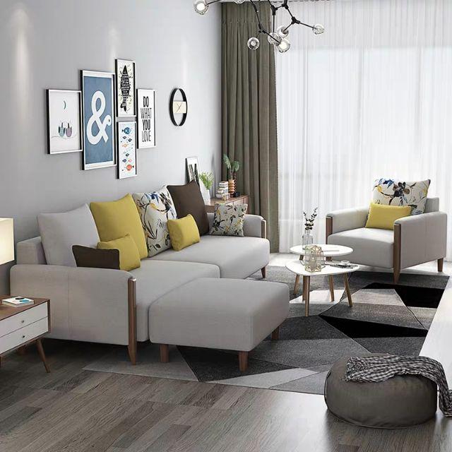 Fabric Sofa Combination Nordic Style, Ikea Furniture Living Room