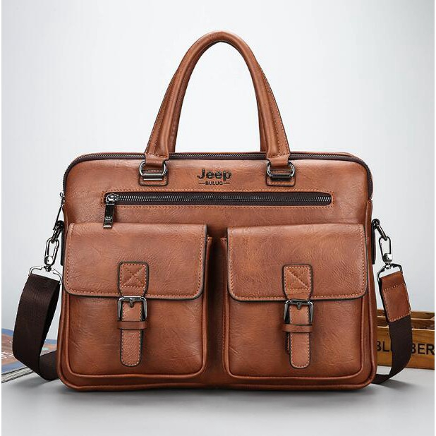 d28ab1f7098e Jeep Buluo Men Business Briefcase Leather Shoulder Bag