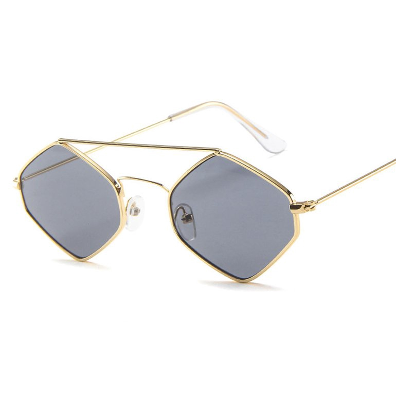 ★FA★ Retro Hexagonal Metal Sunglasses Chao Ren Small Frame Diamond Sunglasses