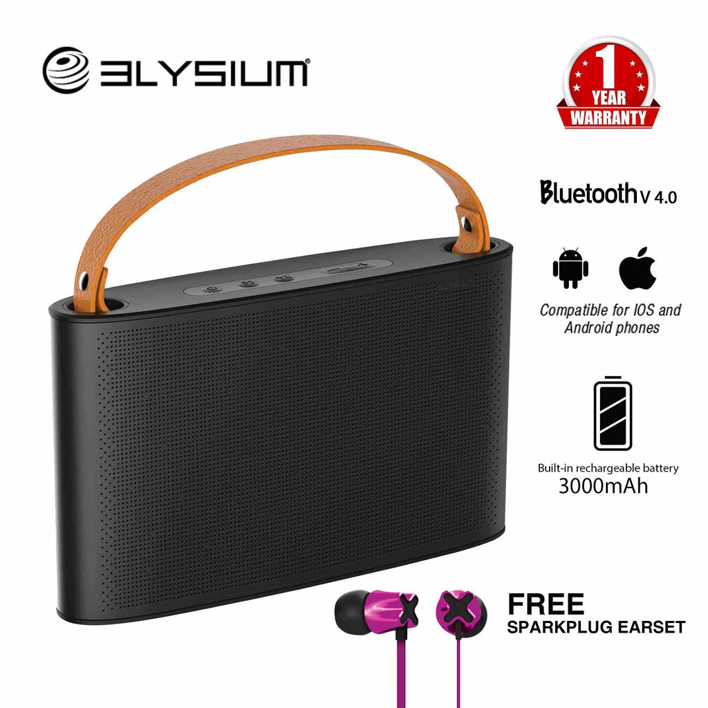 Elysium TOT Bluetooth Portable Speaker System with FM Radio, Built in Mic